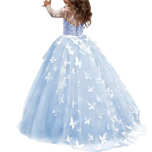 OBEEII Blumenmädchen Schmetterling Prinzessin Kleider Blumenspitze Applique Bestickt Ballkleid für Kommunion Zeremonie Hochzeit Brautjungfer Geburtstag Cocktail Abend Prom Party 8-9 Jahre Blau