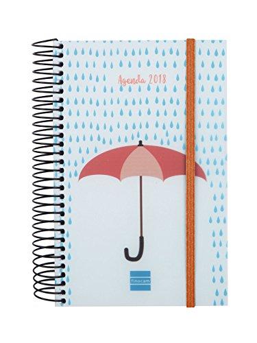 Finocam Spiral Design–Agenda 2018, Tagesansicht, Spanisch, 117x 181mm, 70g/m² Regenschirm 117 x 181 mm, 70 g/m²