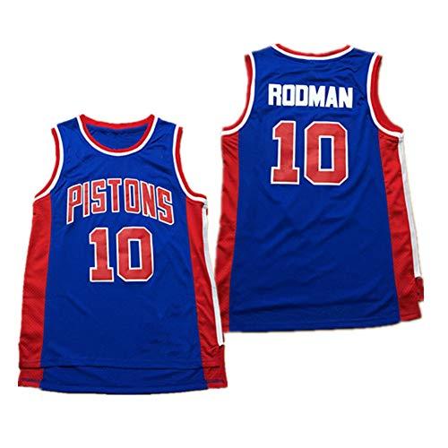 OOFAY Maglia da Uomo -Detroit Pistons # 10 Dennis Rodman 11# Isiah Thomas Maglia Traspirante A Maglie retrò, Camicia da Basket Senza Maniche Unisex,#10 Blue,S