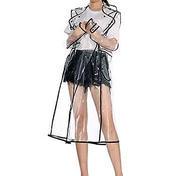 LERTREE Women s EVA Transparent Raincoat Lightweight Rainwear Waterproof Rain Jacket With Belt
