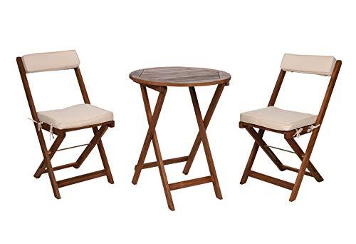 Spetebo Balkon Möbel Set Akazie mit Stuhl Kissen - 2X Klappstuhl + Klapptisch - Holz Sitzgruppe Bistrotisch Bistrostuhl