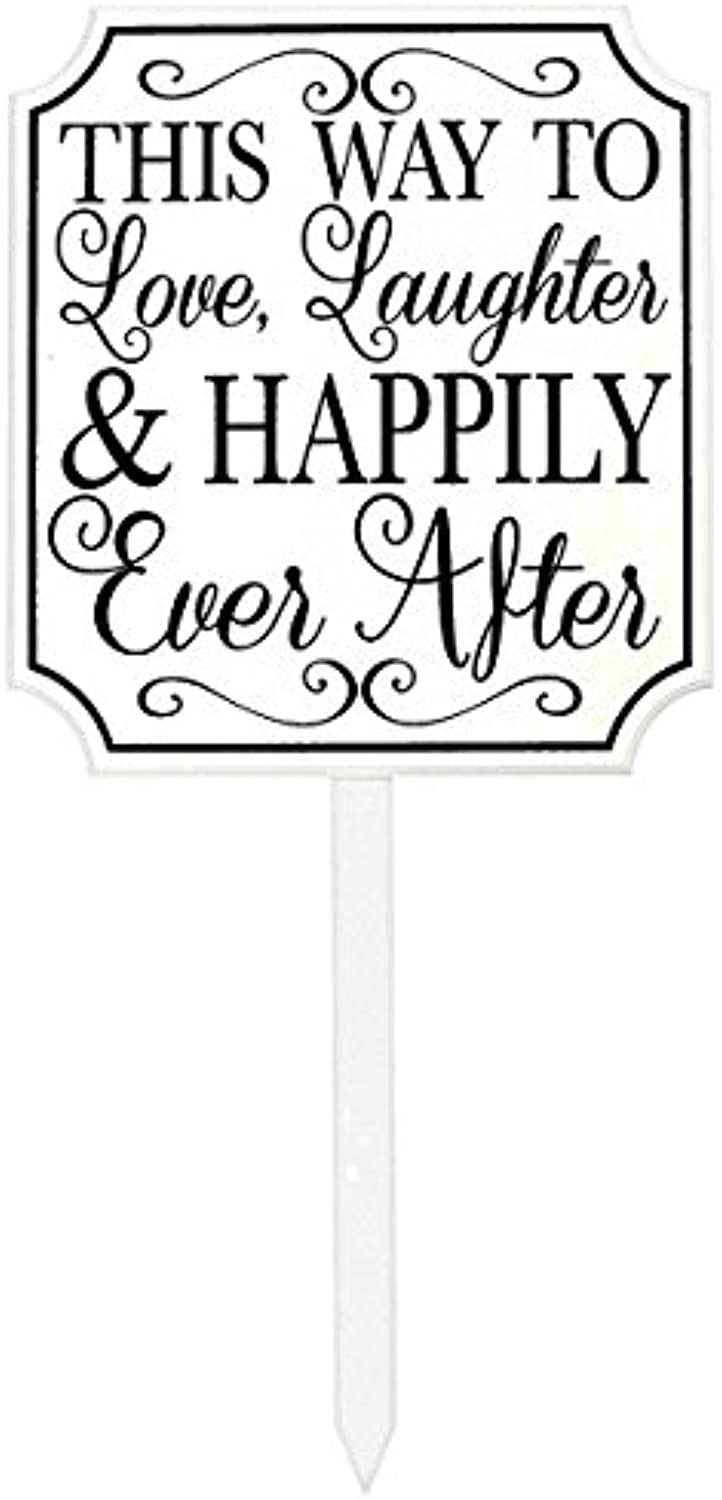 Amscan 190521 This Way to Happily Ever After Lawn Sign Party Décor, White and Black, 15 3 8  x 14
