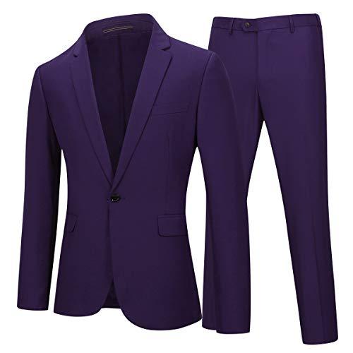 YOUTHUP Herren 2 Teilig Anzüge Slim fit Business Anzug 1-Knopf Anzugjacke mit Anzughose