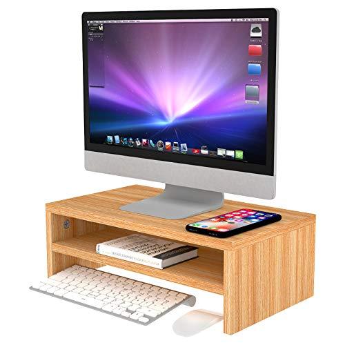 VLikeze Monitorständer aus Holz, 2 Etagen, Schreibtisch-Organizer, Drucker, PC, TV-Regal für Schreibtisch, Heimbüro, 42 x 24 x 13,5 cm, goldfarben