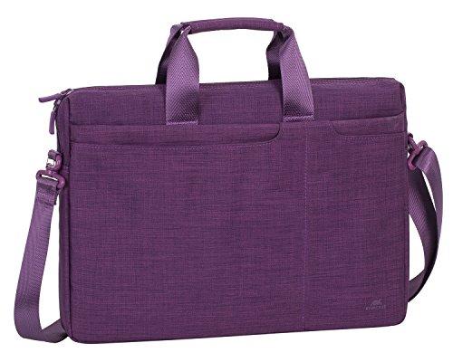 RIVACASE Notebooktasche bis 15.6 Zoll – Modische Laptoptasche mit viel Platz für Zubehör, kompakte Umhängetasche für Damen & Herren Aktentasche Schultertasche (Lila)