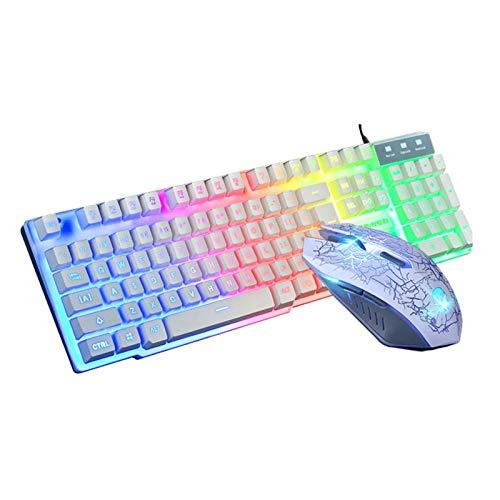 L-yxing Obra de Arte Un Set láser Teclado retroiluminación USB ERGONÓMICO Teclado de Teclado y ratón para PC portátil Llaves de Alta Durabilidad (Color : White)