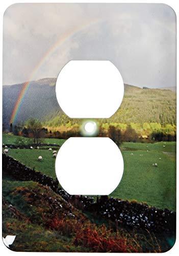 Einzelne Duplex-Steckdosenplatte, Steckdosen-Wandplatte, Schottland, schottische Highlands, Regenbogen, Schaf, Eu36 Dsl0002 David Slater 2 Steckdosen Abdeckung