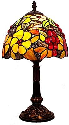 Tiffany Style Rétro 8 pouces Chambre à coucher Lampe de chevet Décoration Légère Café Creative Creative Fleur Table Table E27 LINGZHIGAN