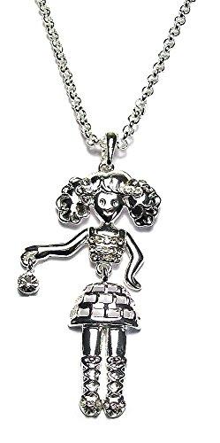 fashionjewellery4u Collana Lunga da Donna con Ciondolo a Forma di Bambola Danzante in Argento e Diamanti Sintetici