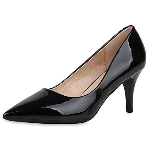 SCARPE VITA Damen Spitze Pumps Stiletto Mid Heels Lack Schuhe Party Abendschuhe Elegante Absatzschuhe 187667 Schwarz 36