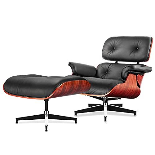 Sessel und Ottomane der Mitte Jahrhunderte, moderner Stuhl im klassischen Design, Palisanderholz mit überlegener Körnung, robuste Basis für Wohnzimmer, Arbeitszimmer, Wohnzimmer, Büro