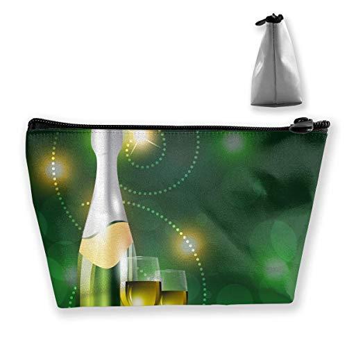 Botella de Vino Tinto y Taza Bolsa de Maquillaje navideña Gran Bolsa de Viaje de Almacenamiento Trapezoidal Lavar Estuche de cosméticos Portalápices Cremallera Impermeable