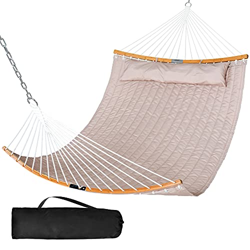SUNCREAT 13.8 FT Hammocks Quilted Fabric Double Hammock with Detachable Curved Bamboo Spreader Bar and Soft Pillow, Max 450 lbs Capacity, Tan