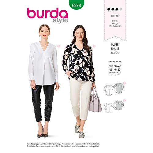 Burda Schnittmuster 6278, Blusen [Damen 36-46] zum selber nähen, ideal für Fortgeschrittene [L3]