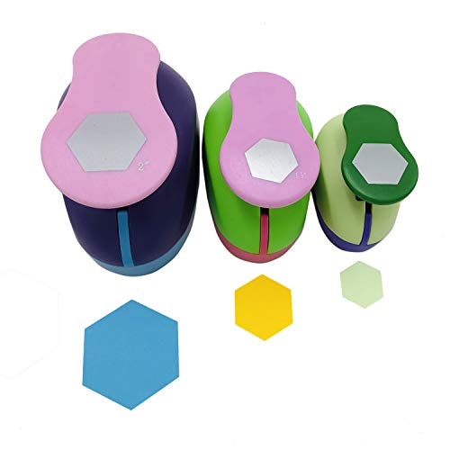 """Set of 3PCS (2""""+1.5""""+1"""") Craft Punch Set Paper Punch Tool Eva Punches for Making Crafts Scrapbooking Garland Circle Dots Hanging Decorations Birthday Party Wedding Decoration (Hexagon)"""