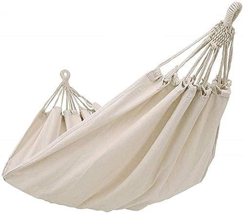 Hamaca colgante de cuerda de lona blanca para colgar en la silla, soporte de acero, sin estante para niños, para interiores, exteriores, viajes, senderismo, playa