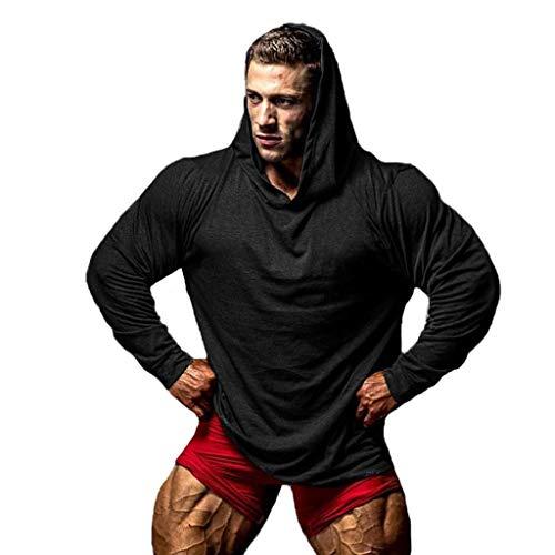 SUCES Sweatshirt Hoodie Herren Männer Einfarbig Langarm Kapuzenshirt Pullover Freizeit Kapuzenpulli Langarmshirt für Sport Training Fitness Tops Bluse Casual Lose