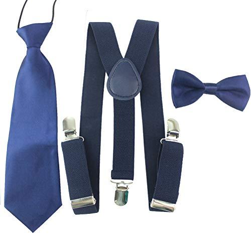 HABI unisex mehrfarbig elastisch Hosenträger Y-Form Länge für Kinder Mädchen und Jungen mit den starken Clips Playshoes Fliege und Krawatte KIT in verschiedenem Design,Dunkelblau,One Size
