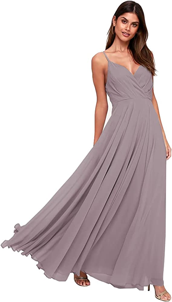 Stylefun Women's V-Neck Spaghetti Strap Bridesmaid Dresses Long 2021 Chiffon Formal Maxi Gown for Women CYM028