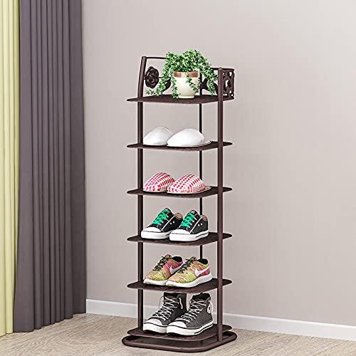 TEET Zapatero de seis niveles, organizador pequeño para ahorrar espacio y almacenamiento de zapatos (tamaño: 10.2 x 10.6 x 32.4 pulgadas; color: bronce)