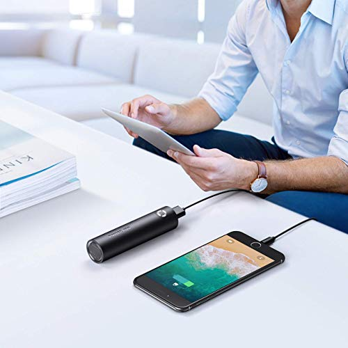 Poweradd EnergyCell 5000 Small Power Bank, Mini Lipstick Portable Charger with Smart Fast Charging Tech, External Battery Pack Compatible with iPhone 11, Galaxy, Pixel and More - Black