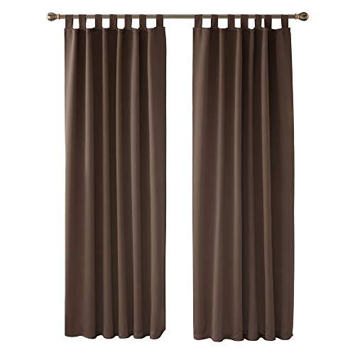 Deconovo Cortinas Dormitorio Moderno Blackout Curtain Suave para Ventanas de Habitación Juvenil con Trabillas 2 Paneles 140 x 245 cm Marrón