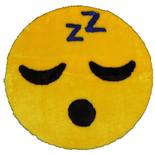 Walk on Me Emoji Rug - Soft and Cute - Made in France - Perfect Emoji Mat Fit for Any Room - Dorm Bed Bathroom Kids Room Emojis (Sleeping)
