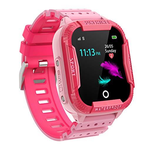 PTHTECHUS Kinder Intelligente Uhr Wasserdicht, Smartwatch WiFi Tracker mit Kinder SOS Handy Touchscreen Spiel Kamera Voice Chat Wecker für Jungen Mädchen Student Geschenk (K22 Rosa)