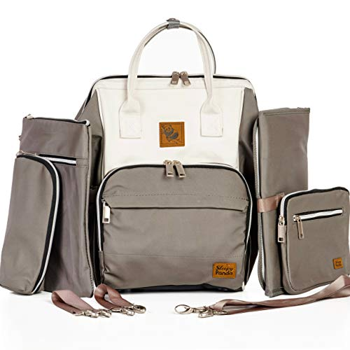 The Lizzie Diaper Bag Backpack for Mom or Dad with Stroller Straps, Baby Changing Pad & USB Hub, Neutral