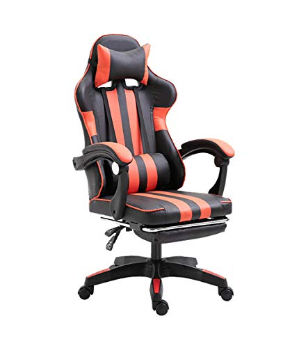 ZRSZ - Silla para videojuegos (ergonómica, altura regulable, con reposabrazos y función basculante giratoria), color negro y rojo