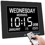 XULI Calendario digital día reloj sin abreviaturas día y mes – actualizado, calendario digital de 8 pulgadas, reloj despertador, color negro