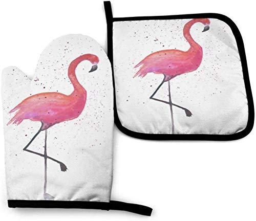 MODORSAN Juego de Manoplas para Horno y Soportes para ollas, Flamingo de Salpicaduras en Blanco Guantes de Horno Resistentes al Calor Mitones de Cocina Antideslizantes para cocinar y Hornear