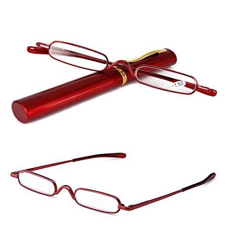 VEVESMUNDO® Lesebrille Damen Herren Federscharnier Metall Schmal Klein Mini Leicht Lesehilfe Sehhilfe Klare Arbeit Brillen Stärke mit Etui (Rot, 1.5)
