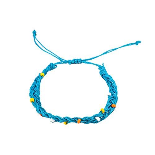 display08 Frauen Bunte Perle Stein Charme Hand Link Verstellbare Armband Seil Armreif Schmuck Geschenk Dekor Dunkelblau