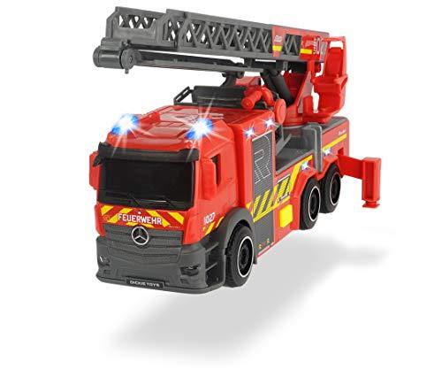 Dickie Toys 203714011 Feuerwehrauto mit Drehleiter, Rosenbauer Feuerwehr, Licht & Sound, inkl. Batterien, ausziehbare Leiter, Freilauf, Rot