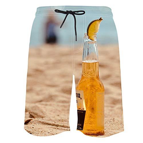 3D Pantalones Cortos Playa Hombre,Impreso Divertido Secado rápidobañadores Hombre Forro de Malla,con Bolsillo,Cerveza de Playa