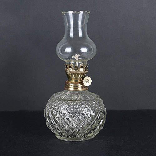 Retro Kerosene Lamp, Retro Industrial Classical American Oil Lamp Clear Pedestal Safety Lightning Emergency Lights Glass Lantern Windproof For Indoor Outdoor - Transparent Crystal Kerosene L