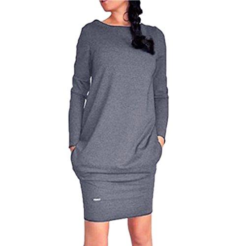 Hibote Damen Winterkleid Strickkleid Pulloverkleid Elegant Sweatershirt Frauen Langarm Pullover Kleider Strickpullover Stricksweat Schwarz Hellgrau...