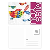 漫画の魚のカラフルな動物 ポストカードセットサンクスカード郵送側20個ミス