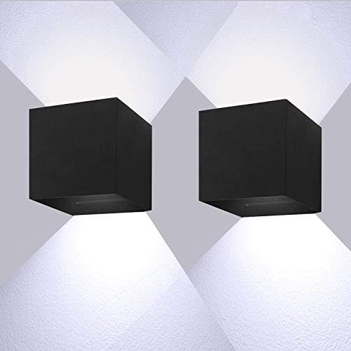 12W LED Wandleuchten 6000K Kaltweiß Außenwandlampen Mit Einstellbar Abstrahlwinkel LED Wandbeleuchtung IP65 wasserdichte(2 Stück)