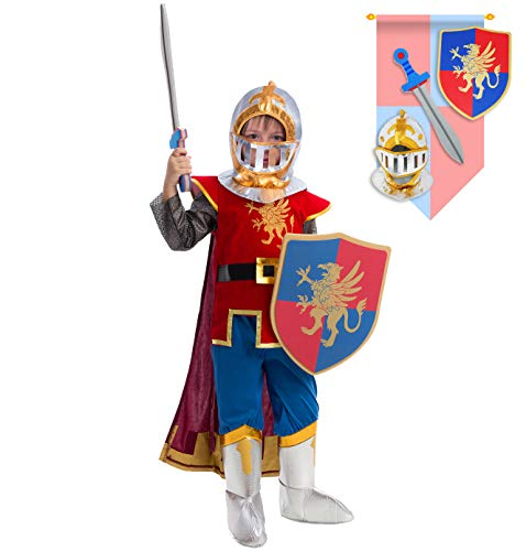 Spooktacular Creations Mittelalterliches Ritter Kostüm Set für Jungen Kinder Halloween Party Verkleidung Rollenspiel und Cosplay (Small)
