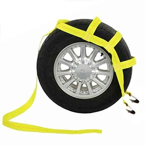 US Cargo Control Tow Dolly Basket Strap - Yellow Car Dolly Strap with Flat Hook End Fittings - Great for Tow Dolly Car Hauling - Fits Most 14-17 Inch Wheels - 3,333 Pound Working Load Limit