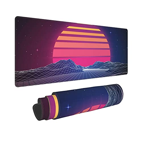 Retro Neon Sunset Synthwave Extended Mouse Pad 31.5x11.8 Inch XL Retrowave Vaporwave Non-Slip Rubber Base Large Gaming Mousepad Stitched Edges Waterproof Keyboard Mouse Desk Pad for Office Home