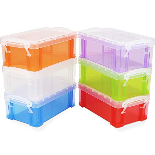 BILLIOTEAM 6 Pack Small Plastic Multi Colorful Crayon Boxes,Stackable Translucent Sewing Fishing Tool Storage Box Case Container Organizer for Craft Office Supplies,Makeup Items(5.31' x 2.95' x 1.97')