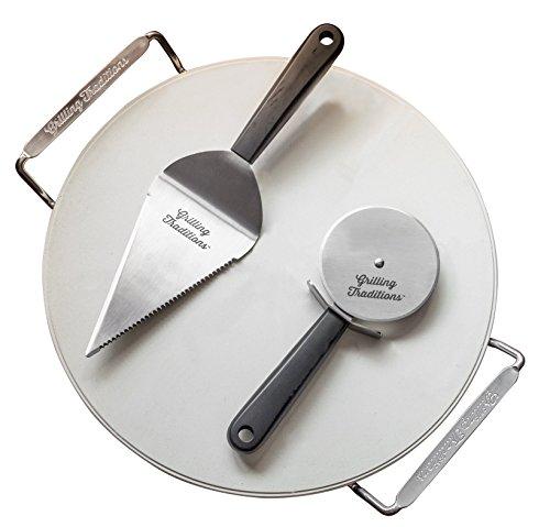 Grilling Traditions - Pietra refrattaria per pizza con rotella tagliapizza e paletta - Set di 3 pezzi