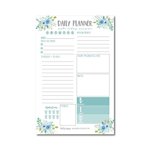 Teal Undated Daily Task Planner To do List Pad, Mom School Family Life Work Personal Productivity Notepad, Day Schedule Organizer, Fitness Exercise Goal Habit Tracker 50 Tear Off Pages
