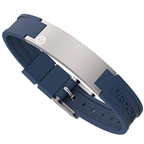 PROEXL Best Sports Golf Magnetic Bracelet Brushed Steel with Blue Strap Waterproof