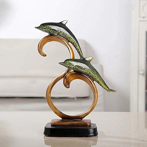 PIVFEDQX Adornos De ArtesaníA De Resina Europea Delfines Creativos Entrada De La Sala De Estar Estudio Dormitorio Tablilla Muebles para El Hogar Regalos 9.5 22 ?? 27Cm (Color: Azul)