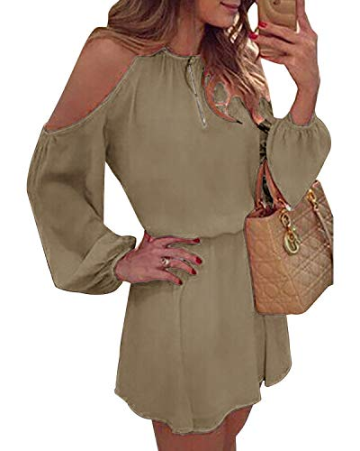 YOINS Sommerkleid Damen Kurz Schulterfrei Kleid Elegante Kleider für Damen Strandmode Langarm Neckholder A Linie Khaki M