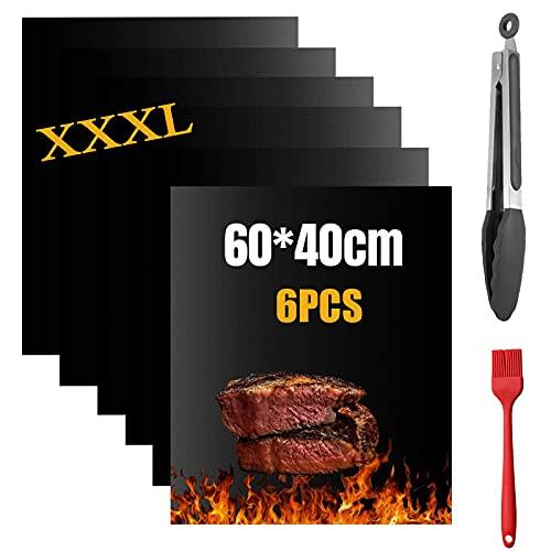 Nifogo Grillmatte 6er Set - Grillmatten für Gasgrill/Holzkohlegrill Extra Dick Antihaft für Grill und Backofen, Kostenlos 1 Grillzange und 1 Silikonbürste (A-40 * 60cm+Zange)